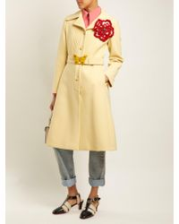 Gucci - Yellow Pintucked Butterfly-embellished Belt Coat - Lyst