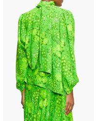 Balenciaga タイネック クレープブラウス Green