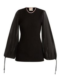 Roksanda - Black Saida Balloon-sleeved Ribbed-knit Top - Lyst