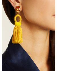 Oscar de la Renta - Yellow Short Tassel-drop Clip-on Earrings - Lyst