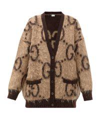 Gucci Brown Reversible Gg-jacquard Mohair-blend Cardigan