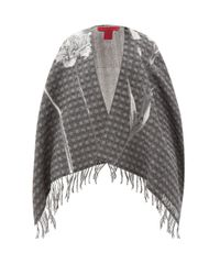 Valentino Garavani Gray Flowersity Floral-jacquard Wool Poncho