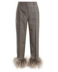 Prada - Gray Feather-trimmed Wool-blend Trousers - Lyst