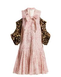 J.W. Anderson レオパードプリントスリーブ ポルカドットドレス Pink