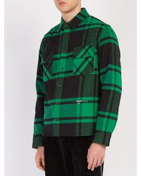 Off-White c/o Virgil Abloh Green Checked Cotton Blend Flannel Shirt for men