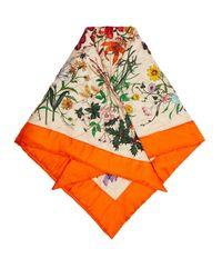 Gucci Orange Flora Print Quilted Silk Scarf