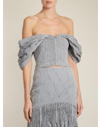 Jonathan Simkhai Multicolor Off The Shoulder Gingham Cropped Top
