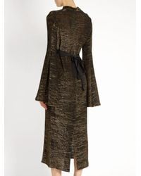 Ellery - Metallic Gasp Ruched Bell-sleeved Dress - Lyst