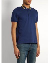 Gucci Blue Tiger-appliqué Cotton-blend Piqué Polo Shirt for men