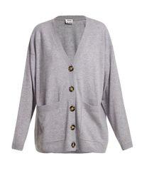 Acne Gray Sahar Patch-pocket Wool Cardigan