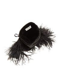 Attico - Black Feather Trimmed Velvet Drawstring Pouch - Lyst