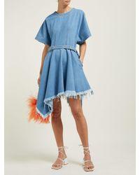 Robe courte ceinturée en denim à ourlet à pointes Marques'Almeida en coloris Blue