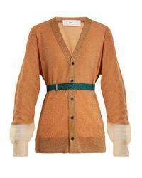 Toga Orange Mesh-cuff Belted Cardigan