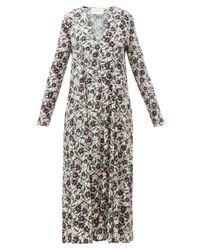 LaDoubleJ Multicolor Trapezio Floral-print Crepe Midi Dress