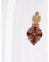 Dolce & Gabbana | White Crest-appliqué Cotton Shirt for Men | Lyst