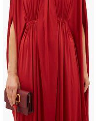Valentino ドレープサテンドレス Red