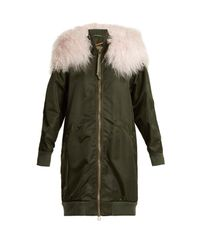 Mr & Mrs Italy Green Shearling Trimmed Long-line Bomber Jacket