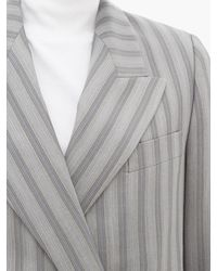Acne Gray Janny Double-breasted Pinstriped Wool Jacket