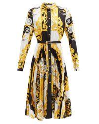 Versace バロックプリント プリーツシャツドレス Yellow