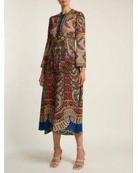 Etro Multicolor Rosolite Paisley-print Tie-neck Dress