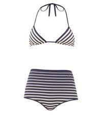 Bikini rayé taille haute triangulaire Valentino en coloris Blue