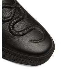 Gucci Black Dublin Snake-embossed Slip-on Leather Trainers for men