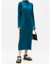 Pleats Please Issey Miyake ハイネックドレス Blue