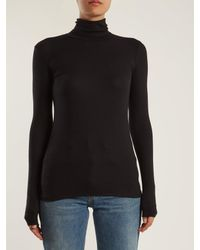 ATM White Roll-neck Ribbed-jersey Top