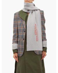 Écharpe en laine mélangée à broderie logo et texte Raf Simons en coloris Gray