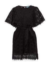 Melissa Odabash Black Kara Broderie-anglaise Cotton Mini Dress