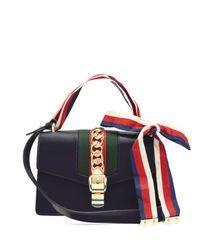 Gucci Blue Sylvie Leather Shoulder Bag