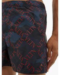 Short de bain imprimé Vltn et camouflage Rockstud Valentino pour homme en coloris Blue