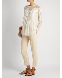 Chloé   Natural Lace-trimmed Gathered Silk-georgette Blouse   Lyst