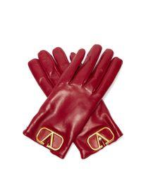 Gants en cuir à plaque V-Logo Valentino Garavani en coloris Red