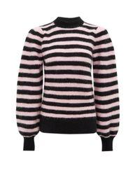 Ganni ボーダー バルーンスリーブセーター Multicolor