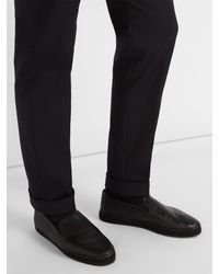 Bottega Veneta Black Gala Intrecciato Leather Espadrilles for men