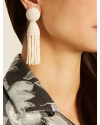 Oscar de la Renta - White Bead-embellished Tassel-drop Clip-on Earrings - Lyst