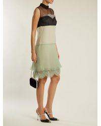 Prada Green Cigaline Contrast Panel Pleated Organza Dress