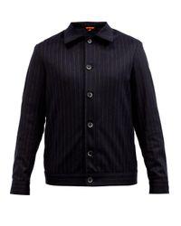 Barena Blue Pinstriped Felted Wool-blend Overshirt for men