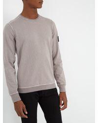 Stone Island - Gray Crew-neck Washed Cotton Sweatshirt for Men - Lyst