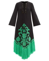 Robe en laine à appliqué en tissu éponge Gucci en coloris Green