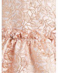 OSMAN Blue Semiha Ruffled-hem Leaf-brocade Dress