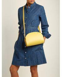 A.P.C. Yellow Half-moon Leather Cross-body Bag