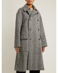 CONNOLLY Gray Double-breasted Herringbone Oversized Wool Coat