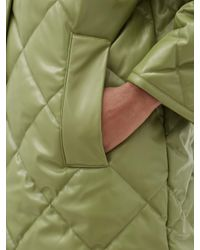 Stand Studio Green Jacey Diamond-quilted Padded Faux-leather Coat