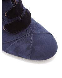 Chloé Blue Graphic Leaves Lace-up Suede Ankle Boots