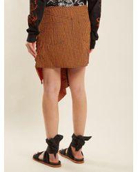 Marques'Almeida Multicolor Ruched Gingham-taffeta Skirt
