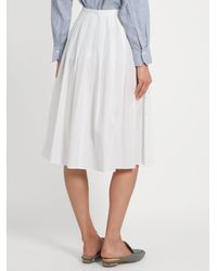 Vince - White Pleated Cotton Skirt - Lyst