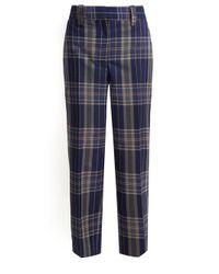 Acne Blue Trea Straight-leg Checked Trousers
