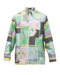 メンズ Versace バロックプリント シルクツイルシャツ Multicolor